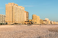 Beach and oceanfront hotels at virginia beach in Royalty Free Stock Images
