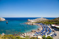 Beach off the coast of the island of Rhodes in Faliraki, Greece. Royalty Free Stock Photo