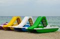 Beach paddle boats vacation fun details Royalty Free Stock Photography
