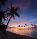 Beach with palm trees at sunset, Maldives island Royalty Free Stock Photos