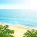 Beach and palms tropical background with ocean illustration Royalty Free Stock Photo