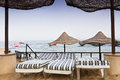 Beach Parasols and Sun Beds Royalty Free Stock Photo
