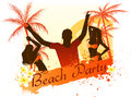 Beach party background with dancing people grunge palm trees and frangipani flowers Royalty Free Stock Photo