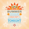 Beach party banner summer weekend flyer vector illustration holiday hot vacation card travel agency template Royalty Free Stock Image