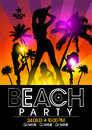 Beach party design template with fashion girls in the rays of light eps Stock Images