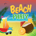 Beach party poster background with palm leaves and cocktails over a beautiful vector illustration Stock Photos