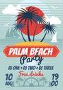 Beach party retro summer vector poster or flyer