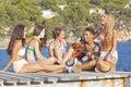 Beach party teens Royalty Free Stock Photo