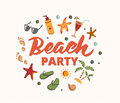 Beach Party text with beach elements. Sunscreen, sunglasses, cocktail