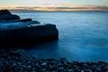 Beach pier sunset seascape photo Stock Image