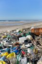 Beach pollution garbages plastics and wastes on the Stock Images