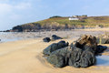Beach polurrian cove mullion cornwall england uk Royalty Free Stock Photos