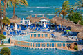 Beach pool resort in mallorca island Stock Photos