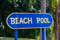 Beach pool sign blue color Stock Photo