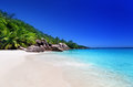 Beach at praslin island seychelles Royalty Free Stock Photo