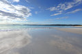 Beach reflections beautiful and cloud jervis bay australia b ackground Stock Photos