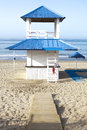 Beach refreshments stand wooden blue and white at beautiful white of south spain Stock Photography