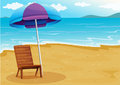 A beach with a relaxing wooden chair under an umbrella illustration of Stock Photo