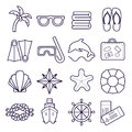 Beach, resort line icons. Palm, sunglasses, flip flops, diving mask, shell and other holiday elements.