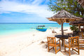Beach rest pavillion in Gili islands Royalty Free Stock Photo