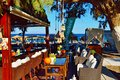 Beach restaurant Santorini,Greece Royalty Free Stock Photo