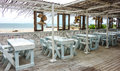 Beach restaurant with a view in Mozambique Royalty Free Stock Photo