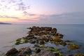 Beach rocks at sunset Royalty Free Stock Photo