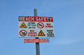 Beach safety sign. Royalty Free Stock Photo