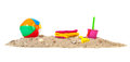 Beach sand with ball and toys Royalty Free Stock Photo