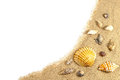 Beach sand and shells border on white Stock Photo