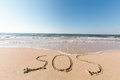 Beach with sand word sos sea Stock Photography