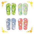 Beach sandals. Colorful flip-flops over white background Royalty Free Stock Photo