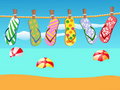 Beach sandals hanged on a rope Royalty Free Stock Photography