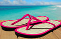 Beach Sandals and Ocean Royalty Free Stock Photo