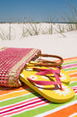 Beach sandals on sand Royalty Free Stock Photo