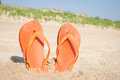 Beach sandals in sand orange flip flops front of dunes Royalty Free Stock Photography