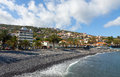 Beach in santa cruz madeira island portugal pebble city on Royalty Free Stock Photo