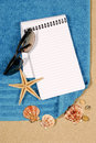 Summer beach holiday background blank writing book copy space vertical Royalty Free Stock Photo