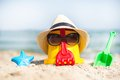 Beach scene with children toys the bucket and sunglasses Stock Photo