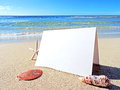 Beach scene with greeting card Royalty Free Stock Photo