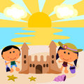 Beach scene with sand castle Royalty Free Stock Photography