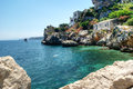 Beach of scopello sicily sicilian coast with crystal clear water at italy Stock Photos