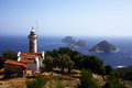 Beach and sea gelidonya lighthouse on lycian way Stock Photography