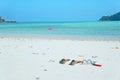 Beach sea mask fin swim dive snorkel summer relax Royalty Free Stock Photo