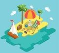 Beach sea ocean yacht summer vacation flat 3d isometric concept