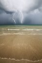 Beach sea and thunder storm stormy Royalty Free Stock Photography