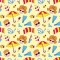 Beach seamless pattern cartoon background Royalty Free Stock Photo
