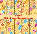 Beach seamless pattern set with Chaise lounge with umbrella, surfboard, flip-flops and bedspreads. Beach vacation. Vector Royalty Free Stock Photo