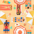 Beach seamless pattern top view. Summer people on a sunny beach. View from above summertime people with Umbrellas