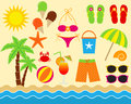 Beach set clip art elements Royalty Free Stock Image